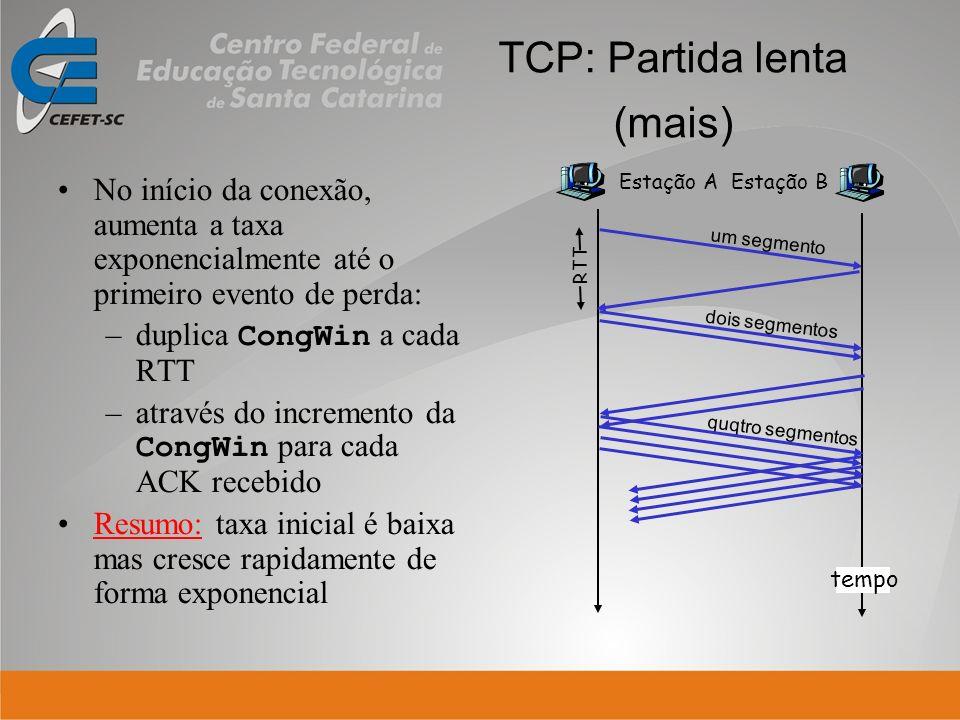 No início da conexão, aumenta a taxa exponencialmente até o primeiro evento de perda: –duplica CongWin a cada RTT –através do incremento da CongWin pa