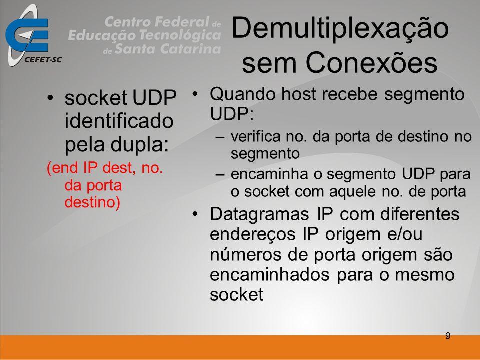 9 Demultiplexação sem Conexões socket UDP identificado pela dupla: (end IP dest, no. da porta destino) Quando host recebe segmento UDP: –verifica no.