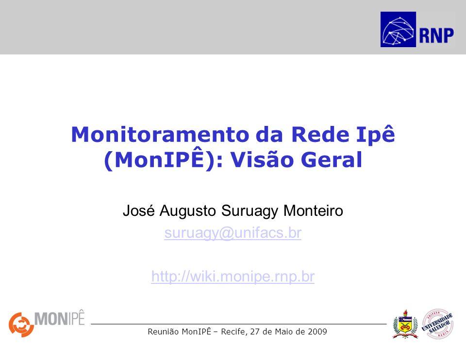 Reunião MonIPÊ – Recife, 27 de Maio de 2009 www.perfsonar.net Colaboração entre: –ESNet –Géant2 –Internet2 –RNP Participantes da Géant2: –ARNES, BELNET, CARNET, CESNET, DANTE, DFN, FCCN, GARR, GRNET, IST, POZNAN, RedIRIS, Renater, SURFnet, SWITCH, UNINETT Participantes da Internet2: –FERMIlab, GeorgiaTech, SLAC, University of Delaware, University of Indiana.