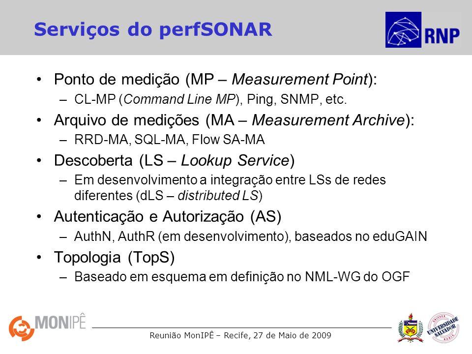 Reunião MonIPÊ – Recife, 27 de Maio de 2009 Serviços do perfSONAR Ponto de medição (MP – Measurement Point): –CL-MP (Command Line MP), Ping, SNMP, etc