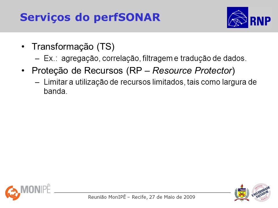 Reunião MonIPÊ – Recife, 27 de Maio de 2009 Serviços do perfSONAR Transformação (TS) –Ex.: agregação, correlação, filtragem e tradução de dados. Prote