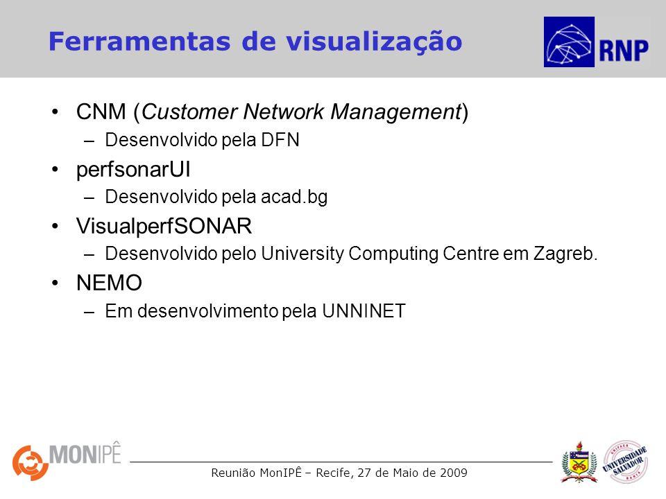 Reunião MonIPÊ – Recife, 27 de Maio de 2009 Ferramentas de visualização CNM (Customer Network Management) –Desenvolvido pela DFN perfsonarUI –Desenvol