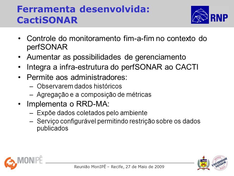 Reunião MonIPÊ – Recife, 27 de Maio de 2009 Ferramenta desenvolvida: CactiSONAR Controle do monitoramento fim-a-fim no contexto do perfSONAR Aumentar