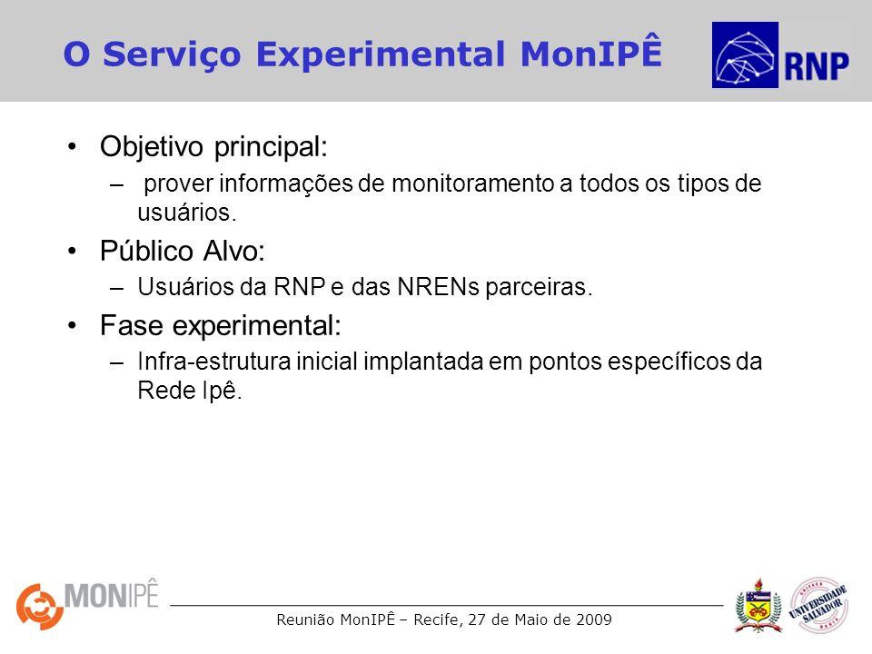 Reunião MonIPÊ – Recife, 27 de Maio de 2009 O Serviço Experimental MonIPÊ Objetivo principal: – prover informações de monitoramento a todos os tipos d