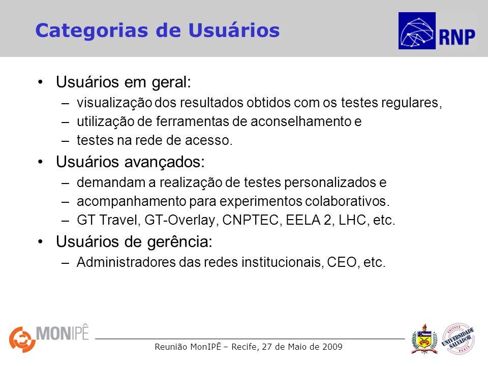 Reunião MonIPÊ – Recife, 27 de Maio de 2009 Categorias de Usuários Usuários em geral: –visualização dos resultados obtidos com os testes regulares, –u