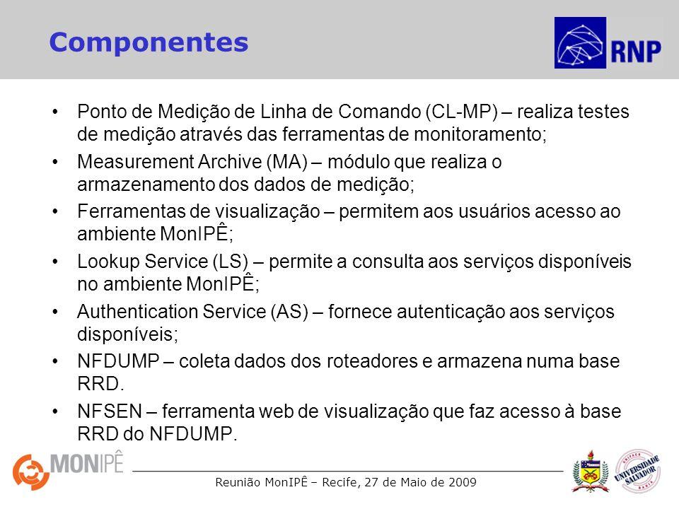 Reunião MonIPÊ – Recife, 27 de Maio de 2009 Componentes Ponto de Medição de Linha de Comando (CL-MP) – realiza testes de medição através das ferrament