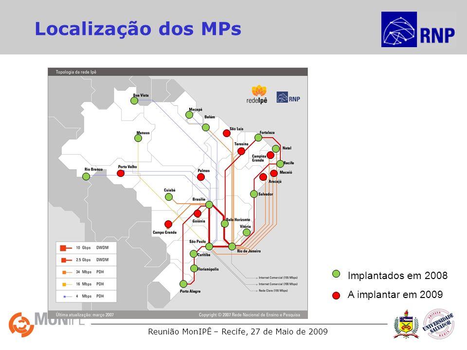 Reunião MonIPÊ – Recife, 27 de Maio de 2009 Localização dos MPs Implantados em 2008 A implantar em 2009