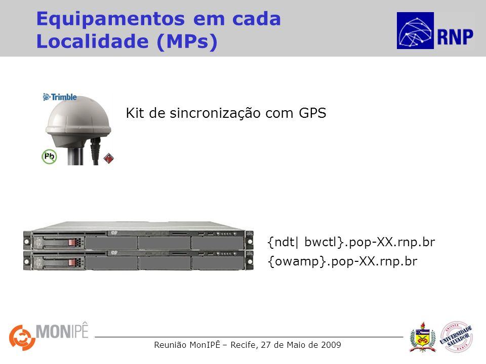 Reunião MonIPÊ – Recife, 27 de Maio de 2009 Equipamentos em cada Localidade (MPs) Kit de sincronização com GPS {owamp}.pop-XX.rnp.br {ndt| bwctl}.pop-