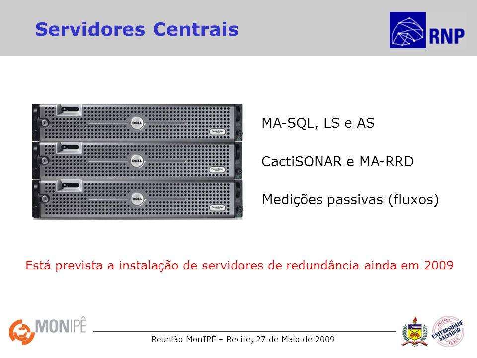 Reunião MonIPÊ – Recife, 27 de Maio de 2009 Servidores Centrais MA-SQL, LS e AS CactiSONAR e MA-RRD Medições passivas (fluxos) Está prevista a instala