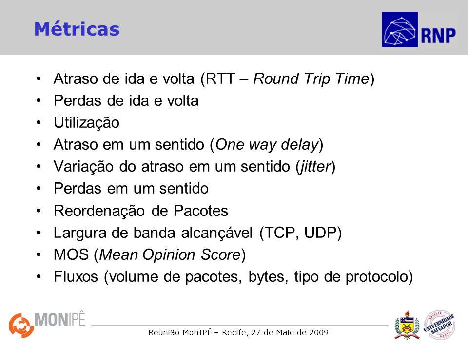 Reunião MonIPÊ – Recife, 27 de Maio de 2009 Ferramentas Ping: –Atraso de ida e volta (RTT – Round Trip Time) –Perdas de ida e volta SNMP: –Utilização OWAMP: –Atraso em um sentido (One way delay) –Variação do atraso em um sentido (jitter) –Perdas em um sentido –Reordenação de Pacotes Iperf/BWCTL: –Largura de banda alcançável (TCP, UDP) Netflow/Sflow –Fluxos (volume de pacotes, bytes, tipo de protocolo)
