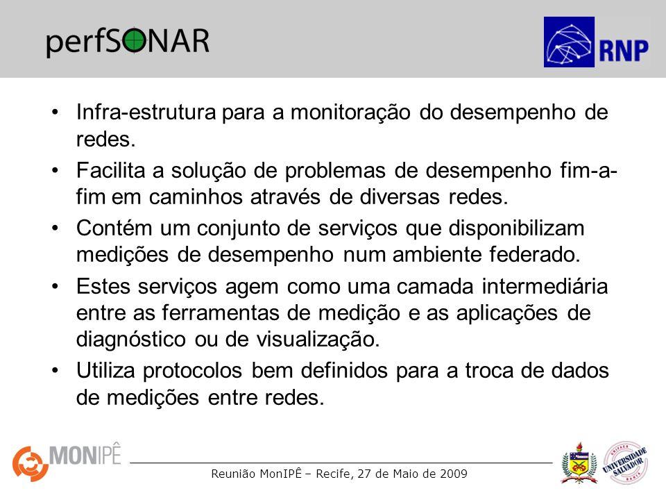Reunião MonIPÊ – Recife, 27 de Maio de 2009 Atividades de medições na RNP GT-QoS (2002-2003) –Infra-estrutura de medições de fluxos (Netflow) GT-QoS 2 (2003-2004) –Análise de dados do Netflow –Medições passivas com placas de captura –Medições ativas com AMP e OWAMP GT-Medições (2004-2005) –Implantação do ambiente piPEs-BR –Implantação de um ambiente de monitoramento de acordos de nível de serviço (nSLA).