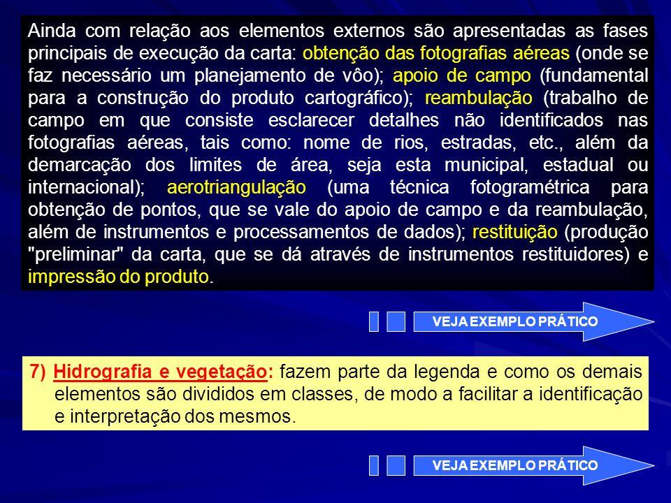 Ainda com relação aos elementos externos são apresentadas as fases principais de execução da carta: obtenção das fotografias aéreas (onde se faz neces