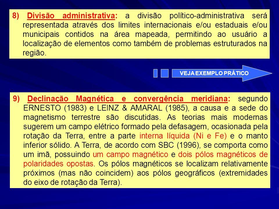 8) Divisão administrativa: a divisão político-administrativa será representada através dos limites internacionais e/ou estaduais e/ou municipais conti
