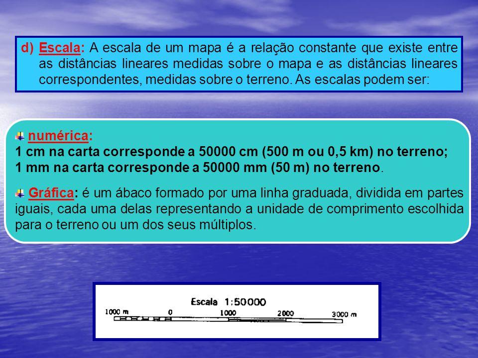 d) Escala: A escala de um mapa é a relação constante que existe entre as distâncias lineares medidas sobre o mapa e as distâncias lineares corresponde