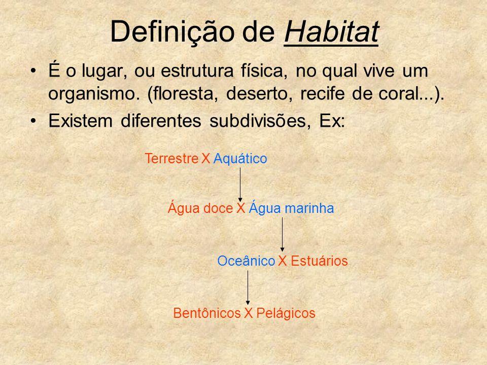 Definição de Habitat É o lugar, ou estrutura física, no qual vive um organismo. (floresta, deserto, recife de coral...). Existem diferentes subdivisõe
