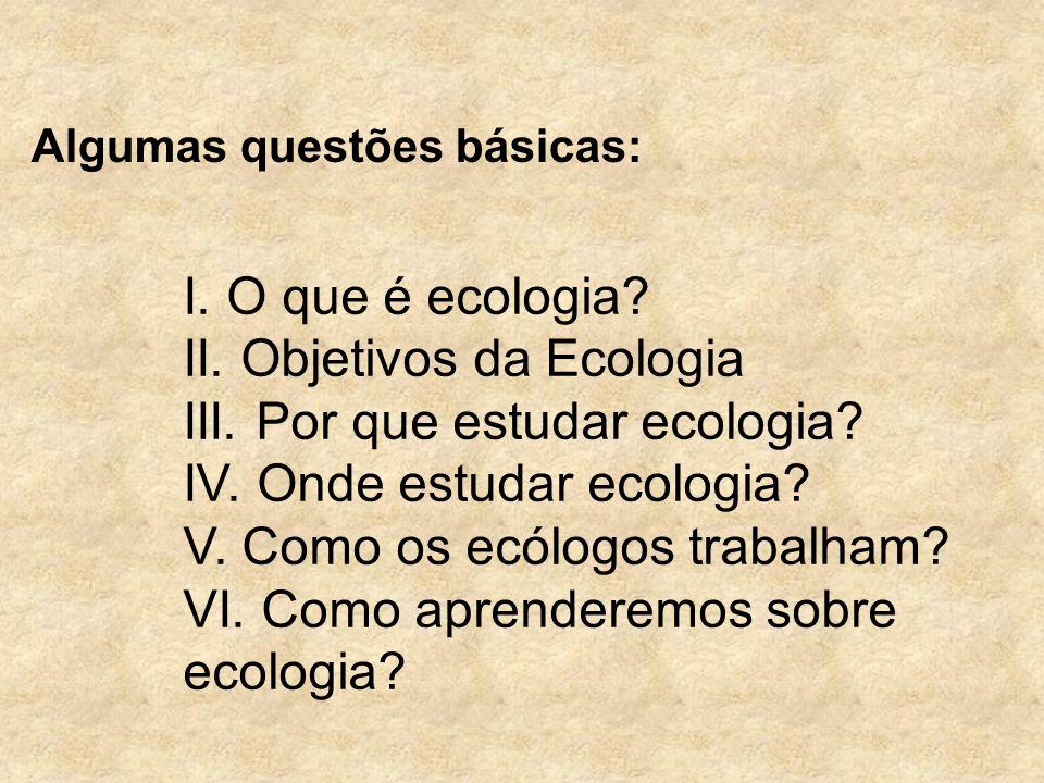 I. O que é ecologia? II. Objetivos da Ecologia III. Por que estudar ecologia? IV. Onde estudar ecologia? V. Como os ecólogos trabalham? VI. Como apren