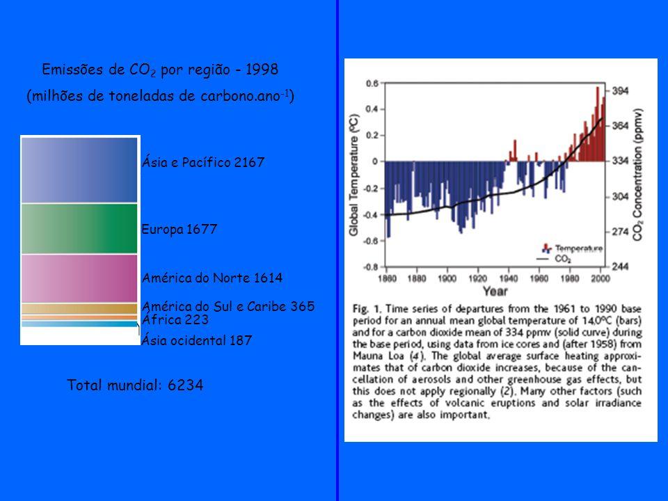 Emissões de CO 2 por região - 1998 (milhões de toneladas de carbono.ano -1 ) Total mundial: 6234 Ásia e Pacífico 2167 Europa 1677 América do Norte 161