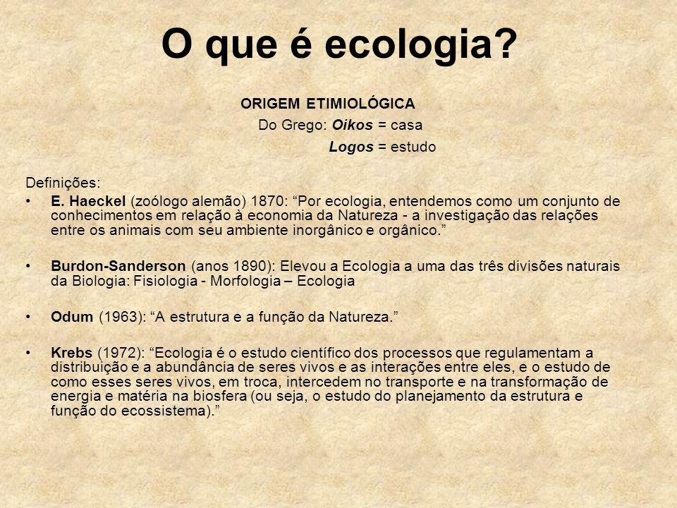 O que é ecologia? ORIGEM ETIMIOLÓGICA Do Grego: Oikos = casa Logos = estudo Definições: E. Haeckel (zoólogo alemão) 1870: Por ecologia, entendemos com