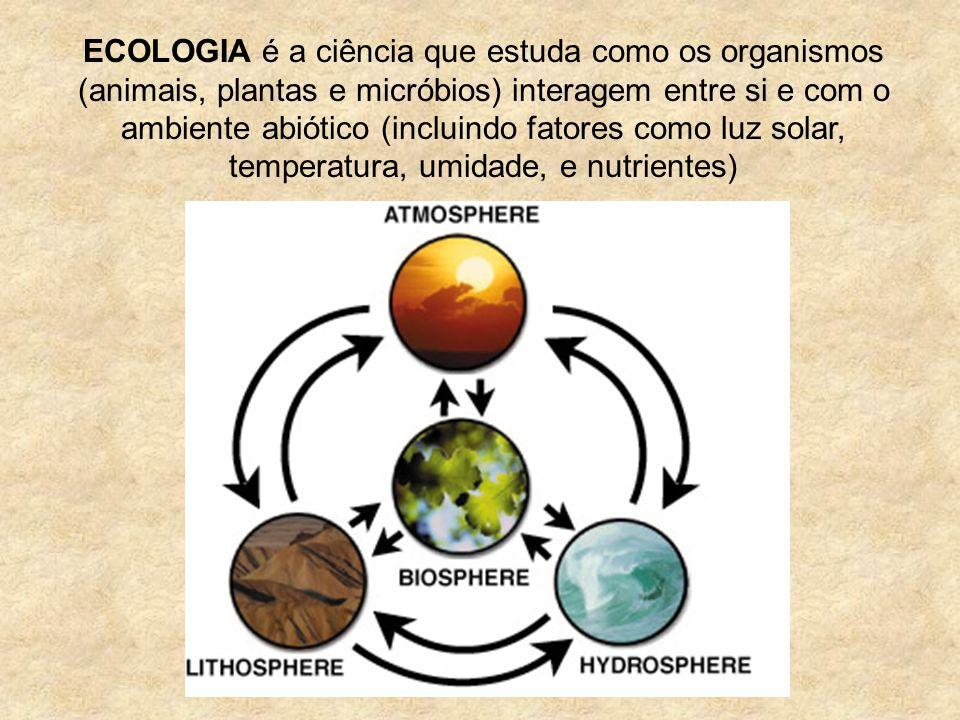 ECOLOGIA é a ciência que estuda como os organismos (animais, plantas e micróbios) interagem entre si e com o ambiente abiótico (incluindo fatores como