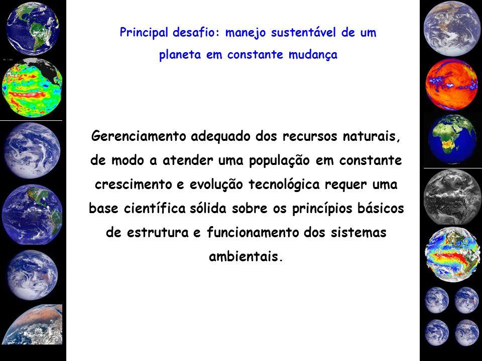 Gerenciamento adequado dos recursos naturais, de modo a atender uma população em constante crescimento e evolução tecnológica requer uma base científi