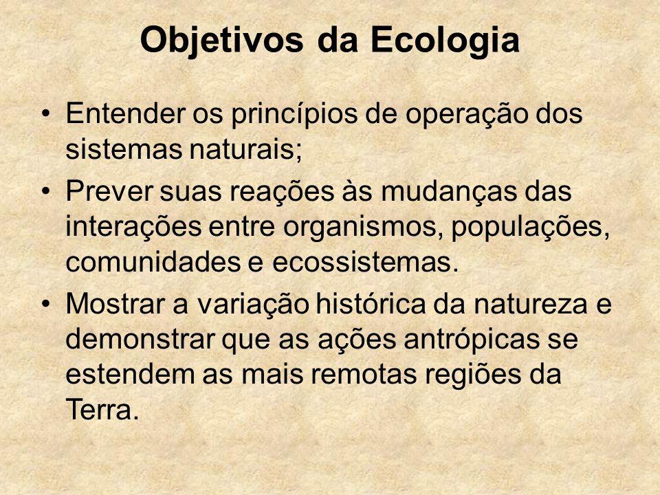 Objetivos da Ecologia Entender os princípios de operação dos sistemas naturais; Prever suas reações às mudanças das interações entre organismos, popul