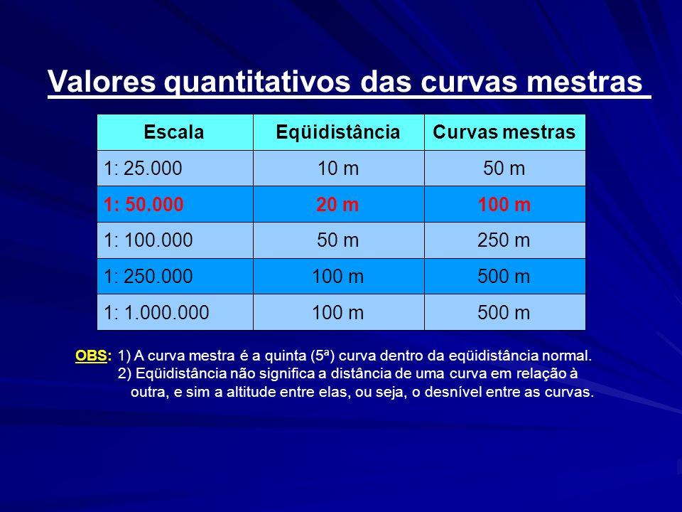 500 m100 m1: 1.000.000 500 m100 m1: 250.000 250 m50 m1: 100.000 100 m20 m1: 50.000 50 m10 m1: 25.000 Curvas mestrasEqüidistânciaEscala Valores quantit