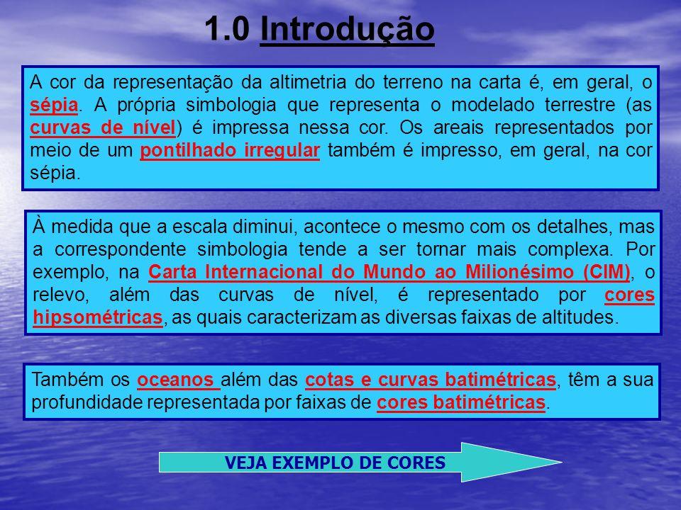 1.0 Introdução A cor da representação da altimetria do terreno na carta é, em geral, o sépia. A própria simbologia que representa o modelado terrestre