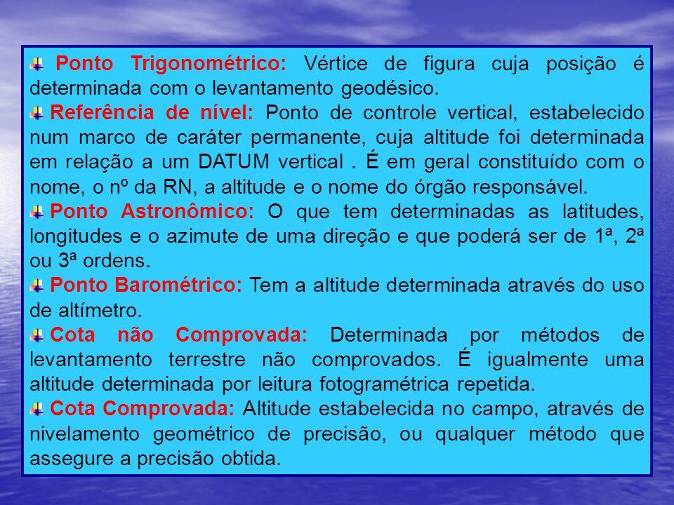 Ponto Trigonométrico: Vértice de figura cuja posição é determinada com o levantamento geodésico. Referência de nível: Ponto de controle vertical, esta