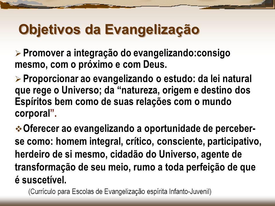 Objetivos da Evangelização Promover a integração do evangelizando:consigo mesmo, com o próximo e com Deus. Proporcionar ao evangelizando o estudo: da