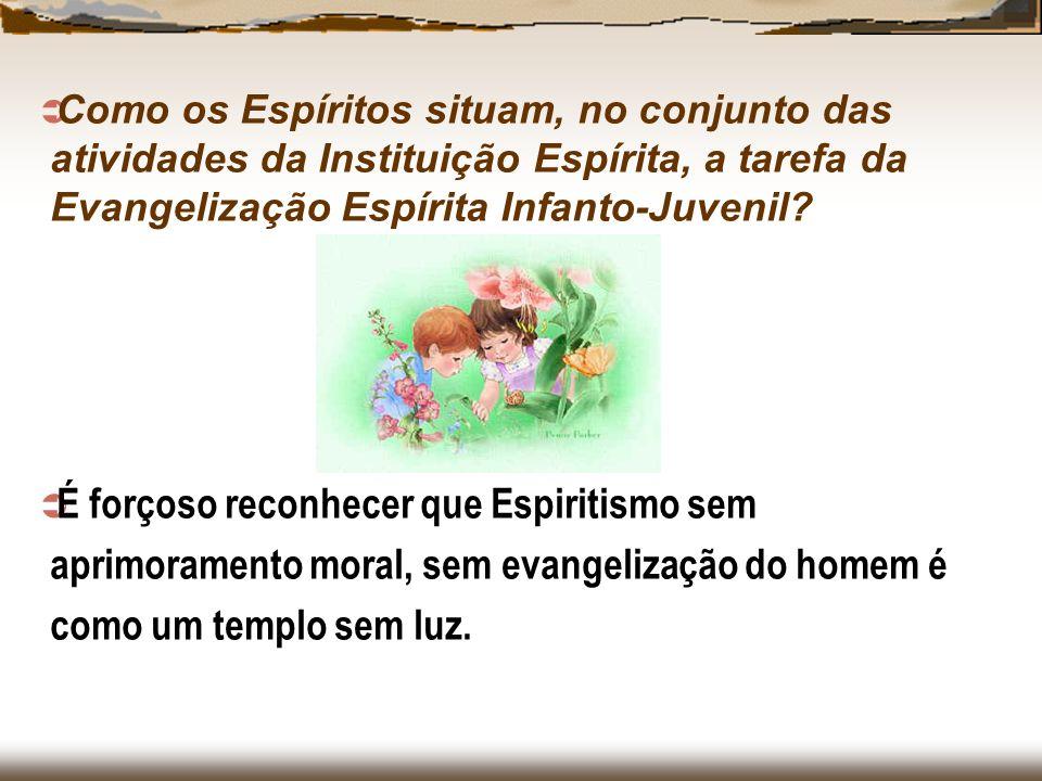 Como os Espíritos situam, no conjunto das atividades da Instituição Espírita, a tarefa da Evangelização Espírita Infanto-Juvenil? É forçoso reconhecer