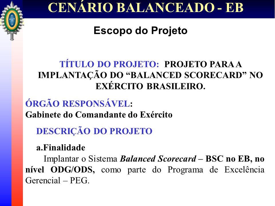 CENÁRIO BALANCEADO - EB Escopo do Projeto TÍTULO DO PROJETO: PROJETO PARA A IMPLANTAÇÃO DO BALANCED SCORECARD NO EXÉRCITO BRASILEIRO. ÓRGÃO RESPONSÁVE
