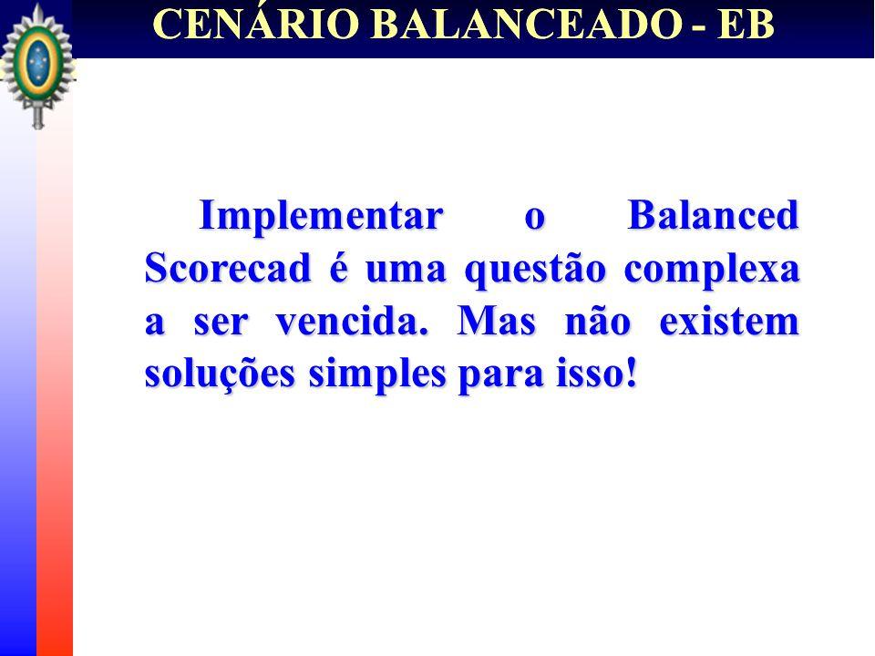 CENÁRIO BALANCEADO - EB Implementar o Balanced Scorecad é uma questão complexa a ser vencida. Mas não existem soluções simples para isso! Implementar