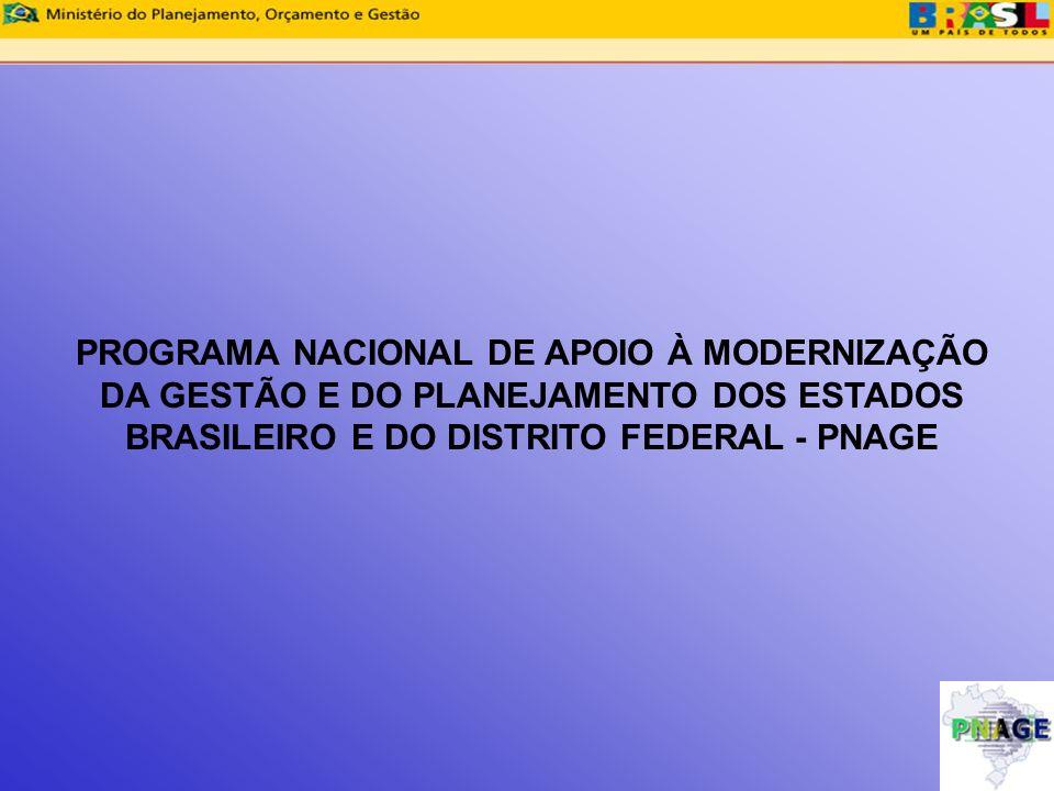 PROGRAMA NACIONAL DE APOIO À MODERNIZAÇÃO DA GESTÃO E DO PLANEJAMENTO DOS ESTADOS BRASILEIRO E DO DISTRITO FEDERAL - PNAGE