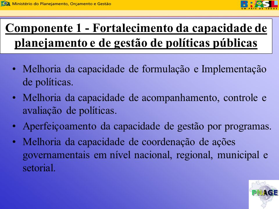 Componente 1 - Fortalecimento da capacidade de planejamento e de gestão de políticas públicas Melhoria da capacidade de formulação e Implementação de