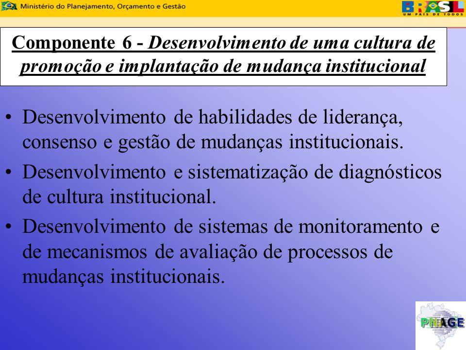 Componente 6 - Desenvolvimento de uma cultura de promoção e implantação de mudança institucional Desenvolvimento de habilidades de liderança, consenso