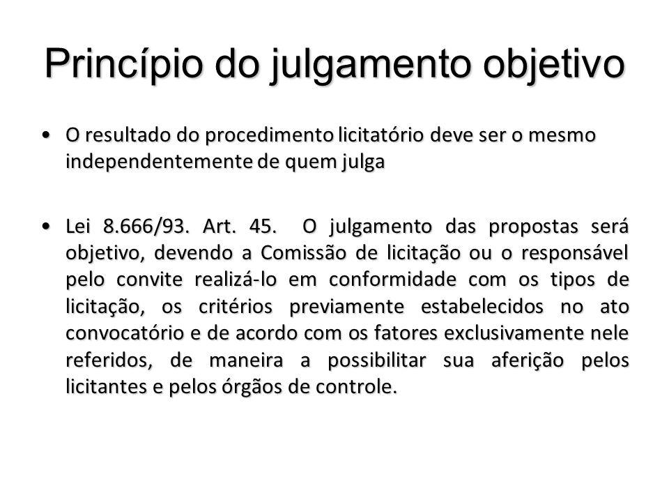 Princípio do julgamento objetivo O resultado do procedimento licitatório deve ser o mesmo independentemente de quem julgaO resultado do procedimento l