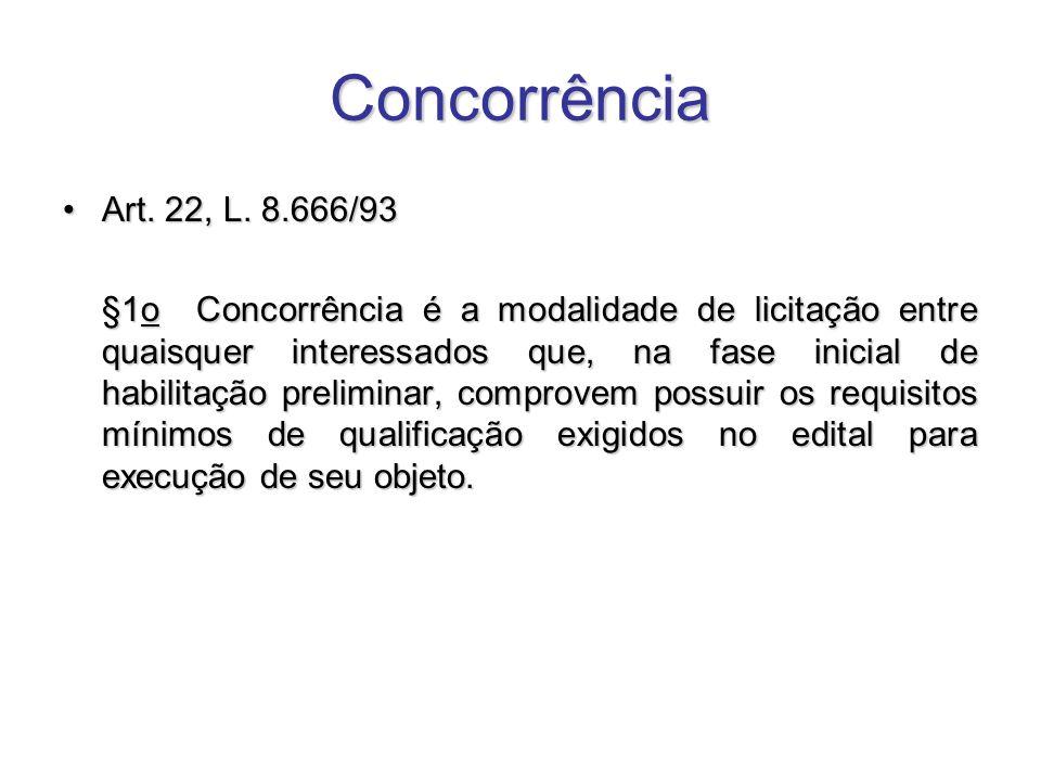 Concorrência Art. 22, L. 8.666/93Art. 22, L. 8.666/93 §1o Concorrência é a modalidade de licitação entre quaisquer interessados que, na fase inicial d
