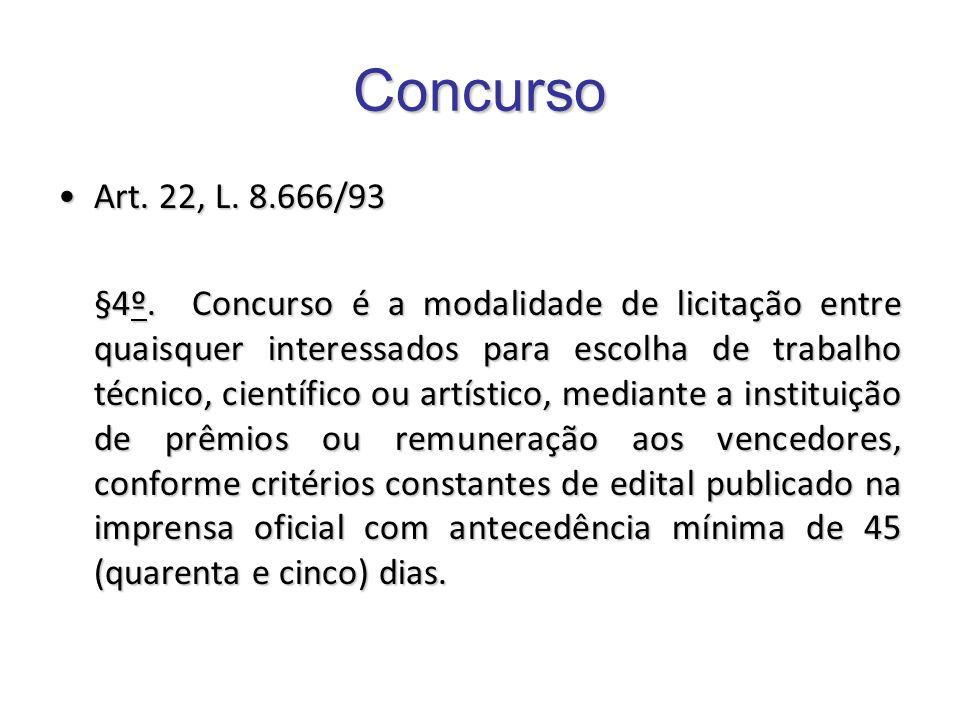 Concurso Art. 22, L. 8.666/93Art. 22, L. 8.666/93 §4º. Concurso é a modalidade de licitação entre quaisquer interessados para escolha de trabalho técn