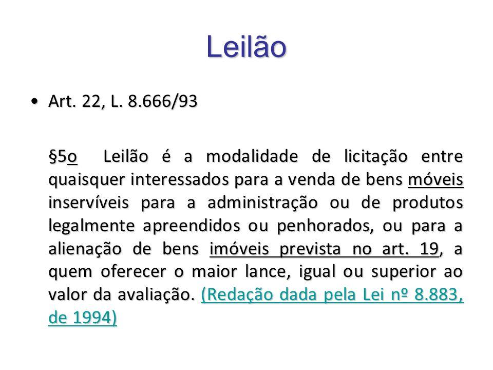 Leilão Art. 22, L. 8.666/93Art. 22, L. 8.666/93 §5o Leilão é a modalidade de licitação entre quaisquer interessados para a venda de bens móveis inserv