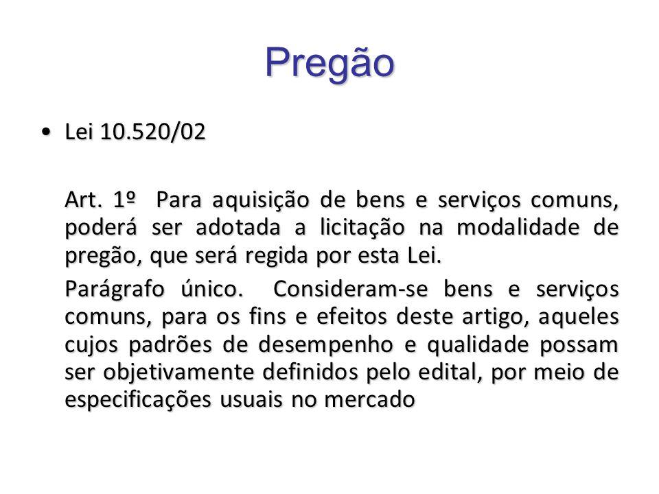 Pregão Lei 10.520/02Lei 10.520/02 Art. 1º Para aquisição de bens e serviços comuns, poderá ser adotada a licitação na modalidade de pregão, que será r