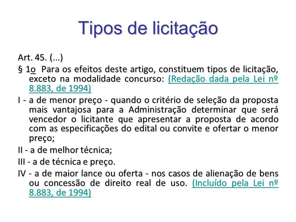 Tipos de licitação Art. 45. (...) § 1o Para os efeitos deste artigo, constituem tipos de licitação, exceto na modalidade concurso: (Redação dada pela