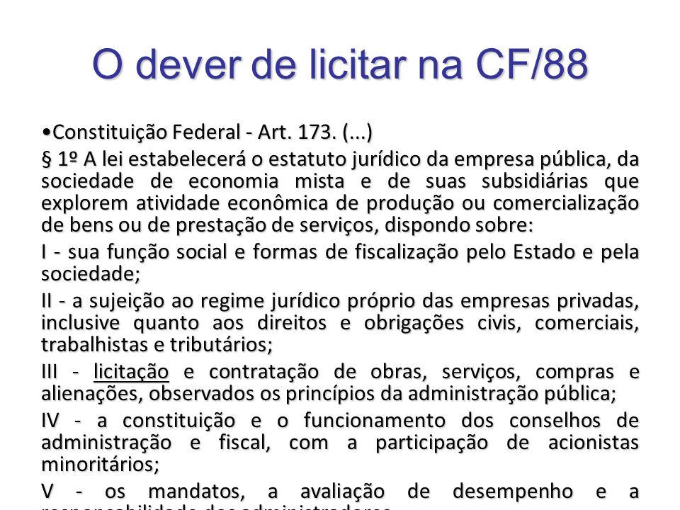 O dever de licitar na CF/88 Constituição Federal - Art. 173. (...)Constituição Federal - Art. 173. (...) § 1º A lei estabelecerá o estatuto jurídico d