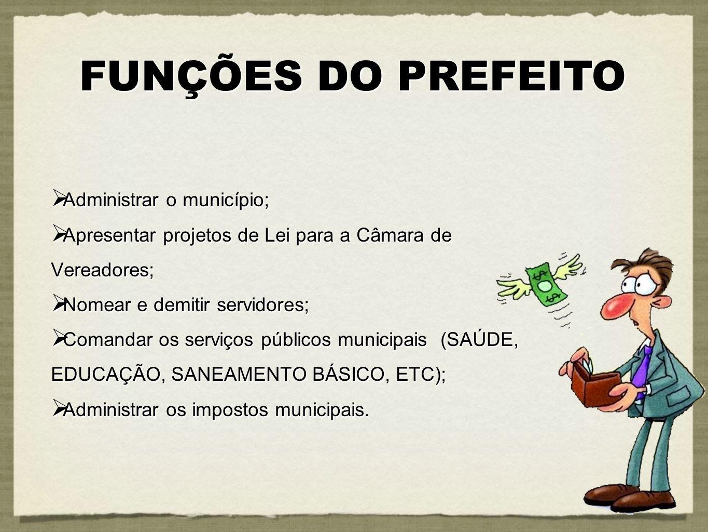 Administrar o município; Administrar o município; Apresentar projetos de Lei para a Câmara de Vereadores; Apresentar projetos de Lei para a Câmara de