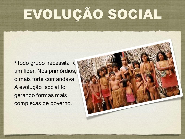 EVOLUÇÃO SOCIAL Todo grupo necessita de um líder. Nos primórdios, o mais forte comandava. A evolução social foi gerando formas mais complexas de gover