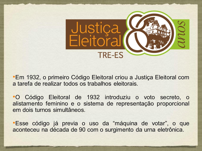 Em 1932, o primeiro Código Eleitoral criou a Justiça Eleitoral com a tarefa de realizar todos os trabalhos eleitorais. O Código Eleitoral de 1932 intr