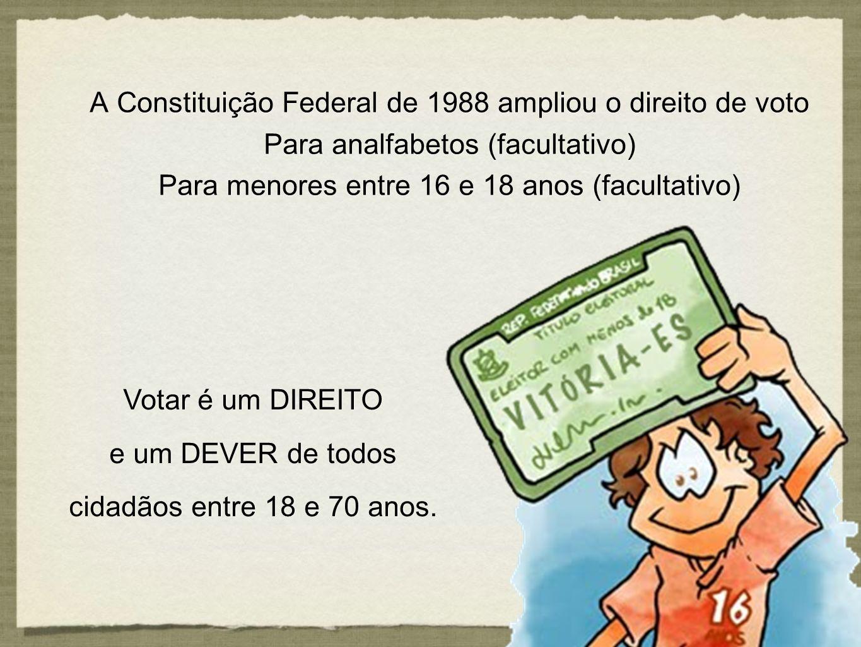 A Constituição Federal de 1988 ampliou o direito de voto Para analfabetos (facultativo) Para menores entre 16 e 18 anos (facultativo) A Constituição F
