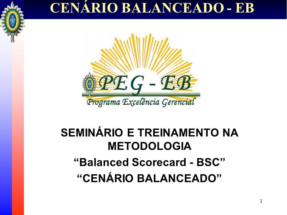 2 CENÁRIO BALANCEADO - EB Os objetivos do Seminário são: Apresentar a metodologia do Cenário Balanceado e sua inserção no PEG-EB; Transmitir conhecimento sobre a aplicação do BSC no contexto do EB; Apresentar a proposta inicial do SMDO-EB e sua relação com o BSC; Apresentar o Projeto de Implantação do Cenário Balanceado no EB.