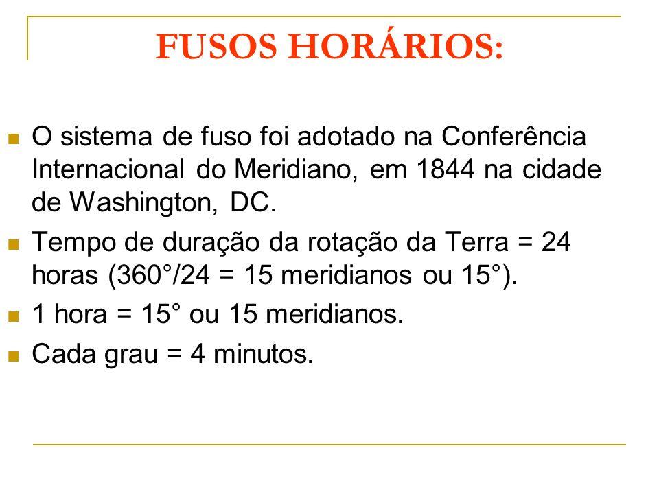 FUSOS HORÁRIOS: O sistema de fuso foi adotado na Conferência Internacional do Meridiano, em 1844 na cidade de Washington, DC. Tempo de duração da rota