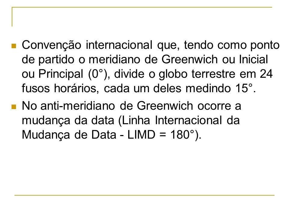Convenção internacional que, tendo como ponto de partido o meridiano de Greenwich ou Inicial ou Principal (0°), divide o globo terrestre em 24 fusos h
