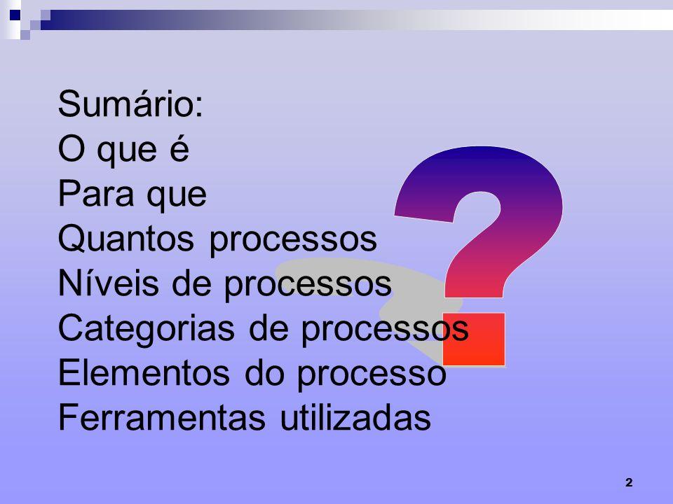 2 Sumário: O que é Para que Quantos processos Níveis de processos Categorias de processos Elementos do processo Ferramentas utilizadas